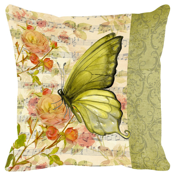 Butterfly & Floral Sap Green Cushion Cover