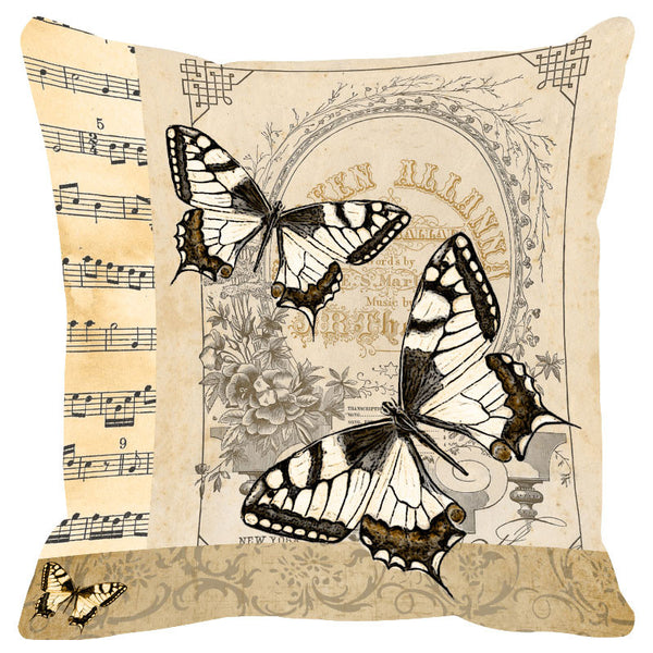 Butterfly & Floral Fawn Cushion Cover