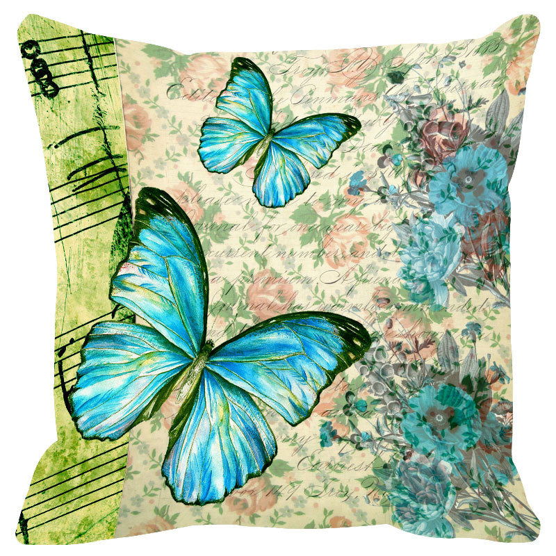 Butterfly & Floral Light Blue Cushion Cover