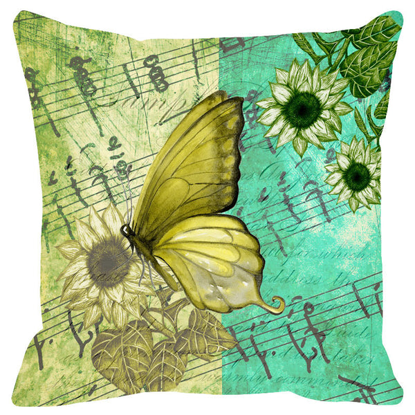 Butterfly & Floral Acqua Cushion Cover