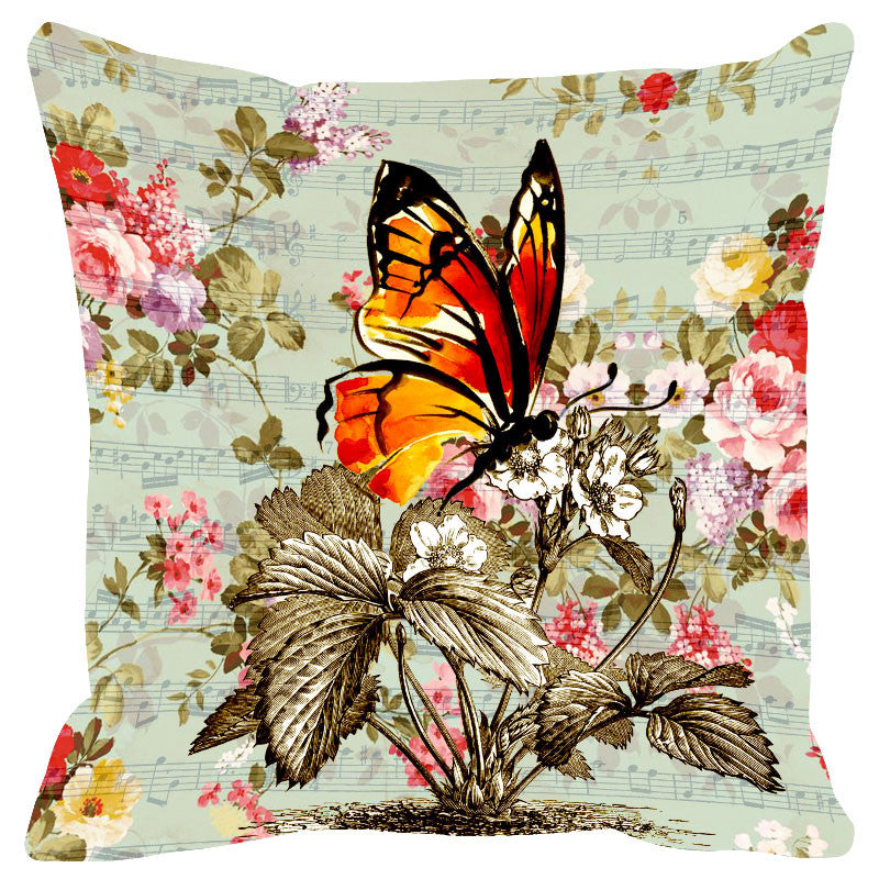Butterfly & Floral Powder Blue Cushion Cover