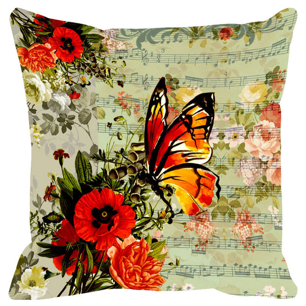 Butterfly & Floral Red Cushion Cover