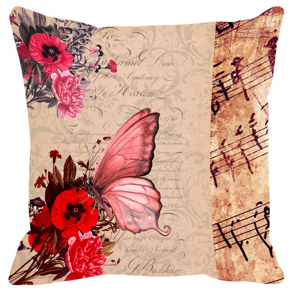 Butterfly & Floral Pink Cushion Cover