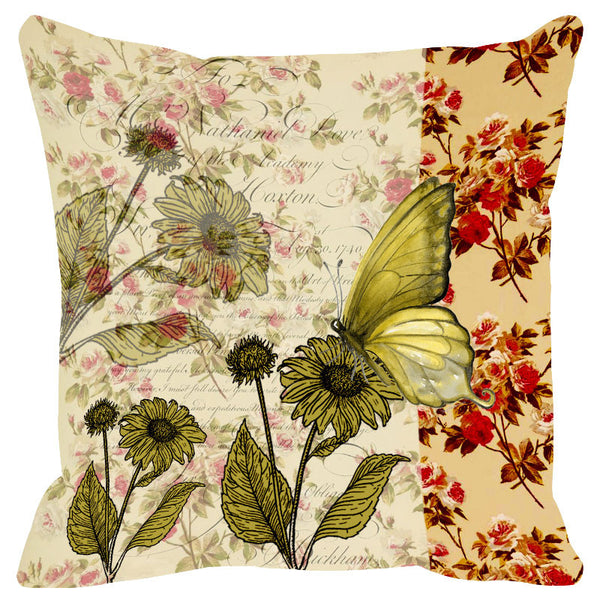 Butterfly & Floral Ivory Green Cushion Cover