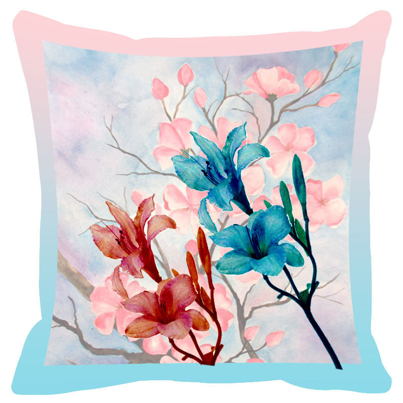Floral & Blue Border Cushion Cover