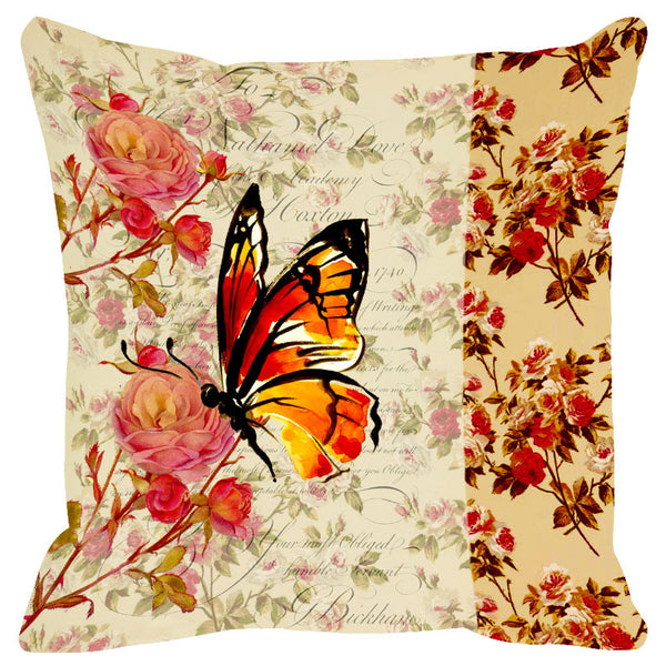 Butterfly & Floral Rust Cushion Cover