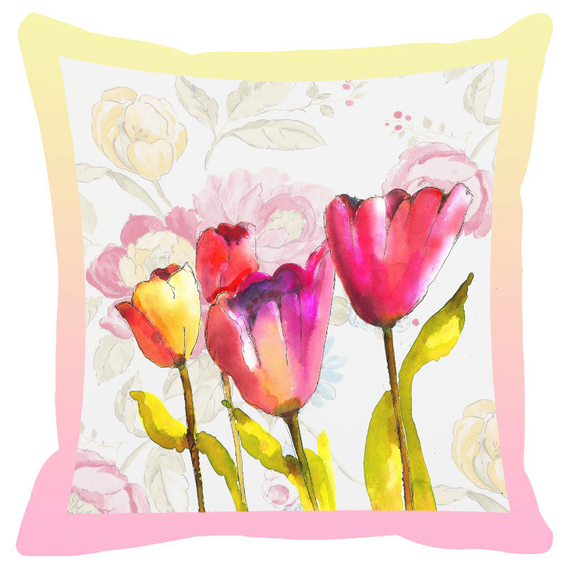 Floral & Pink Border Cushion Cover