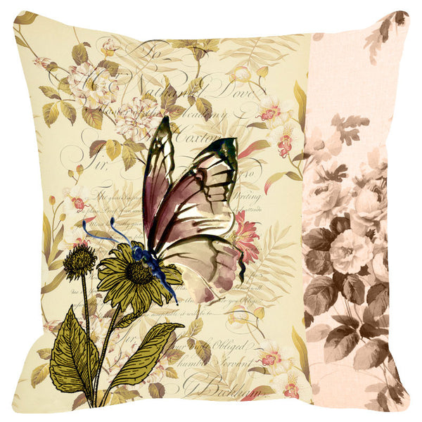 Butterfly & Floral Soft Pink Cushion Cover