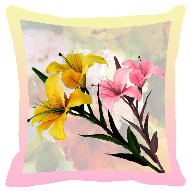 Floral & Pink Peach Border Cushion Cover