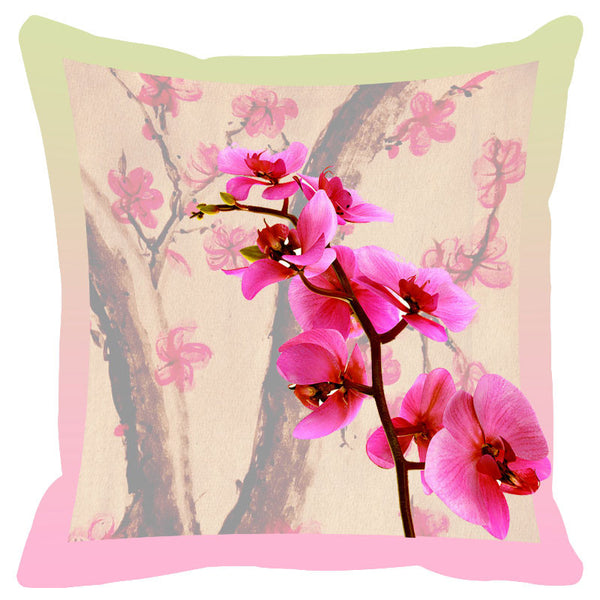 Floral & Pink Grey Border Cushion Cover