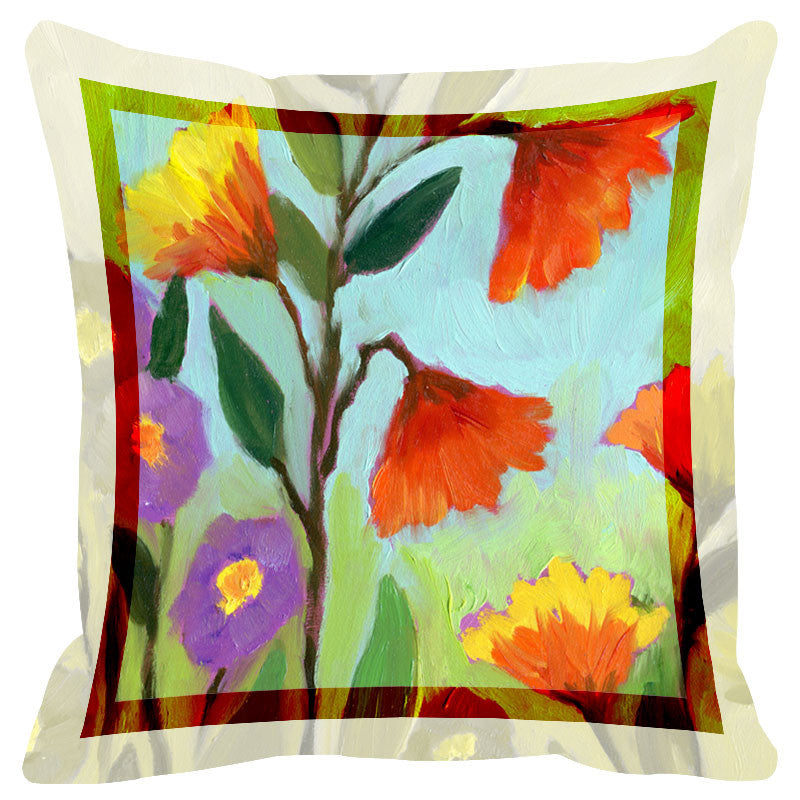 Floral Light Multicolor Border Cushion Cover