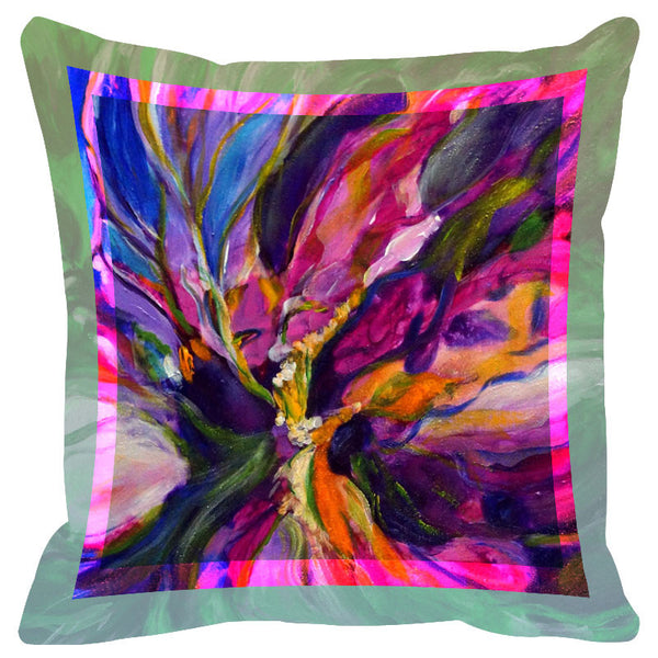 Floral Purple Tones Border Cushion Cover