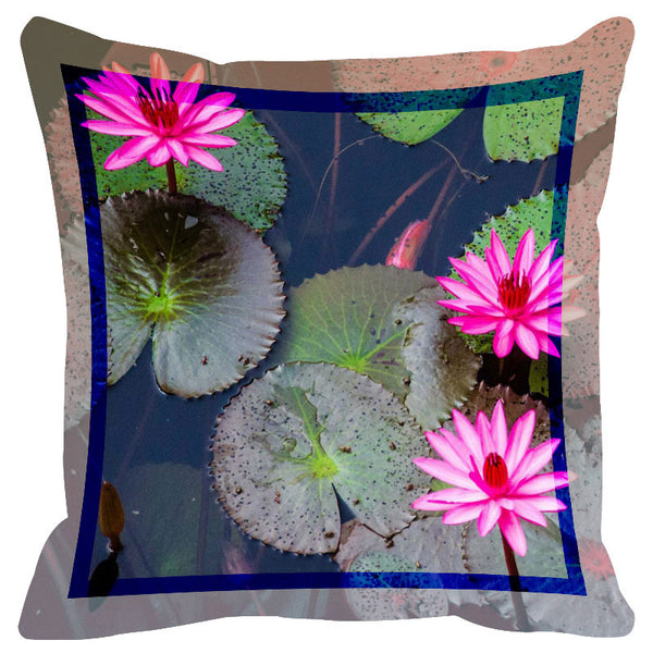 Floral Pink Lotus Border Cushion Cover