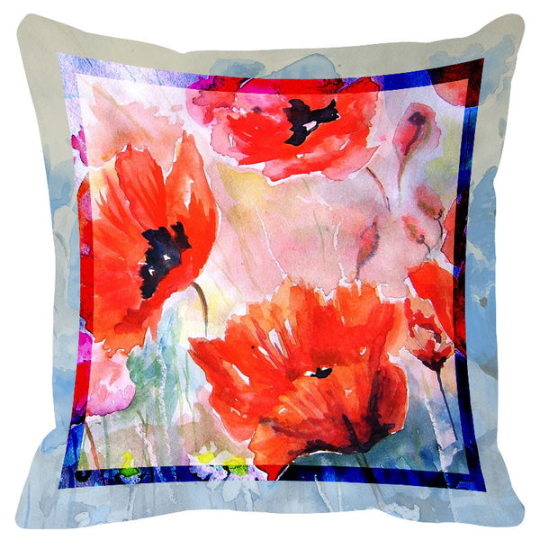 Floral Light Blue Border Cushion Cover