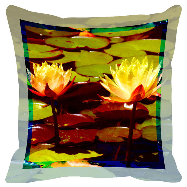 Floral Yellow & Brown Border Cushion Cover