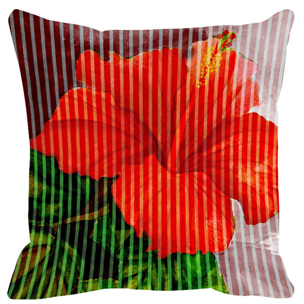 Leaf Designs Red Green Stripe & Floral Cushion Cover