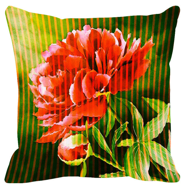Leaf Designs Red Leaf Green Stripe & Floral Cushion Cover