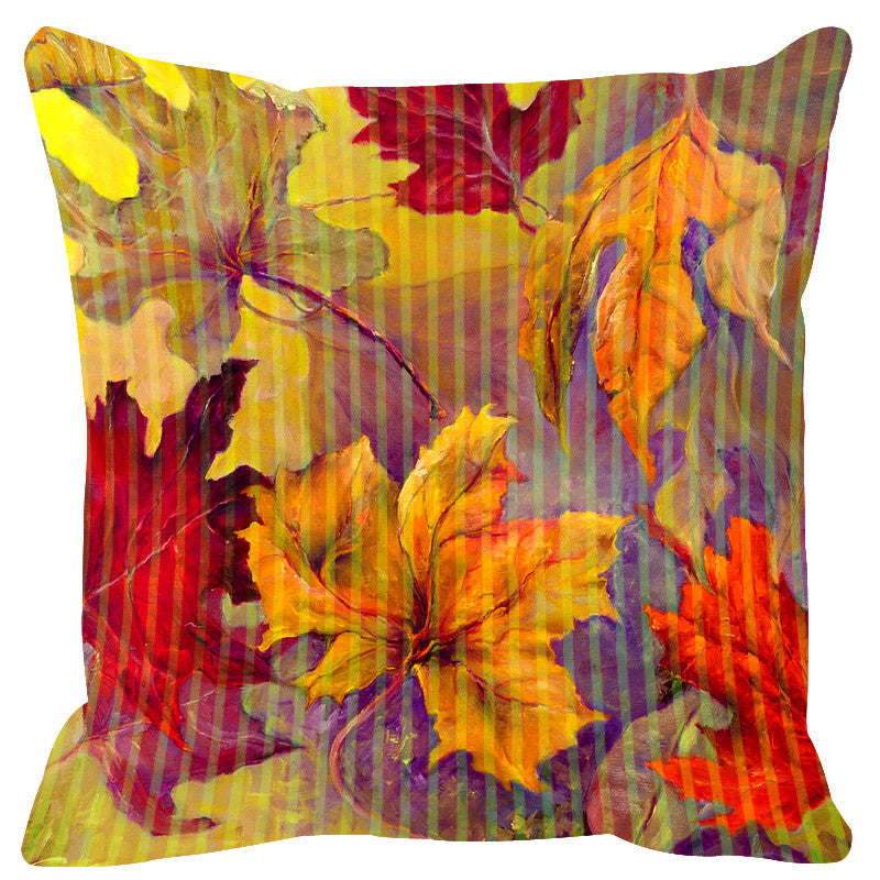 Leaf Designs Yellow Red Stripe & Floral Cushion Cover