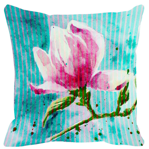Leaf Designs Pink Blue Stripe & Floral Cushion Cover