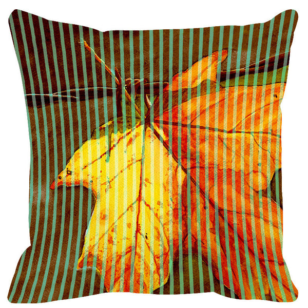 Leaf Designs Yellow Green Stripe & Floral Cushion Cover