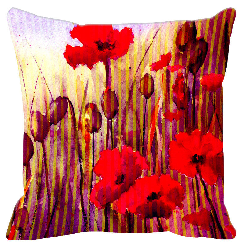 Leaf Designs Red Purple Stripe & Floral Cushion Cover