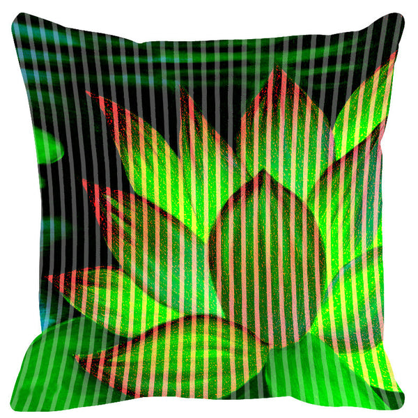 Leaf Designs Bright Green Stripe & Floral Cushion Cover