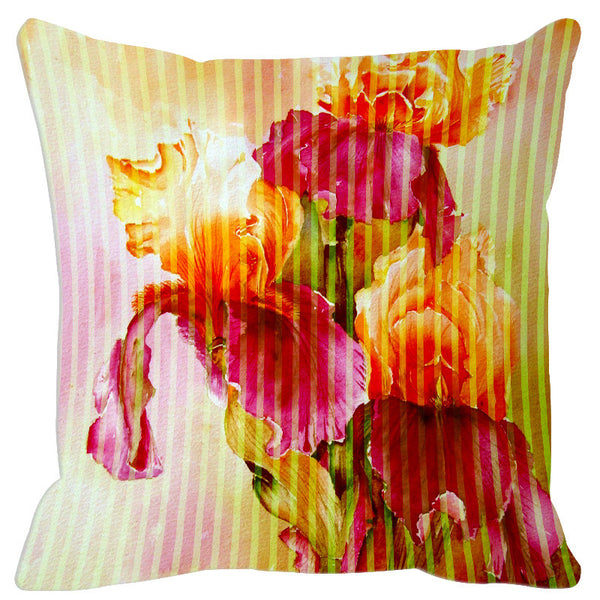 Leaf Designs Pink Yellow Stripe & Floral Cushion Cover