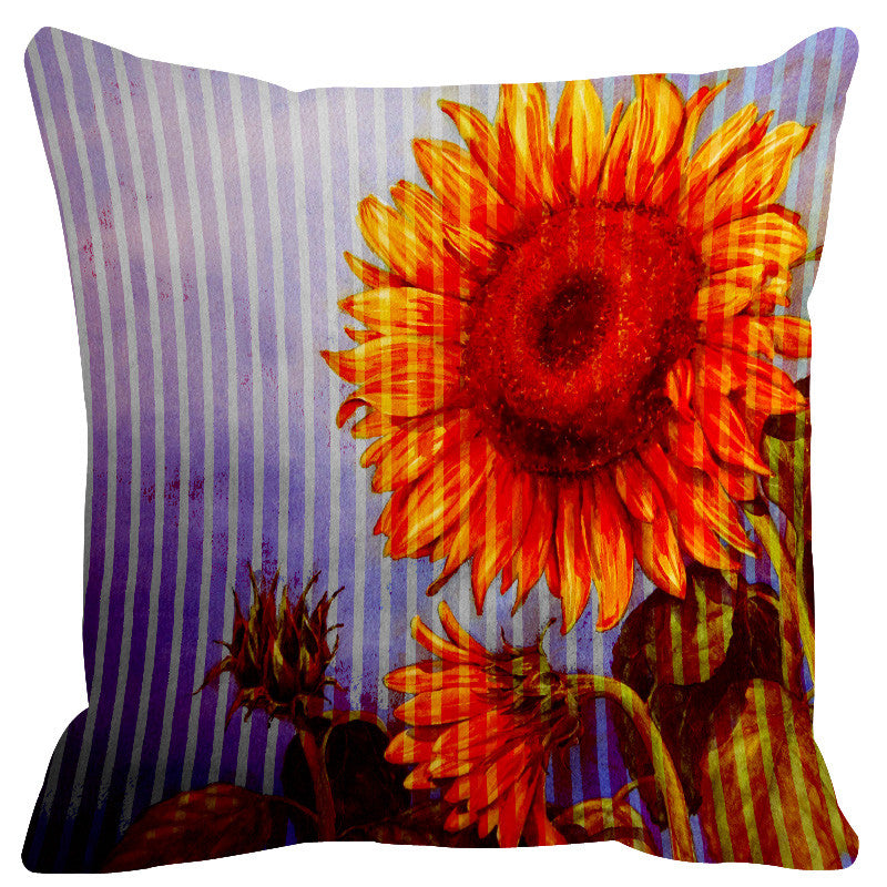 Leaf Designs Yellow Lilac Stripe & Floral Cushion Cover