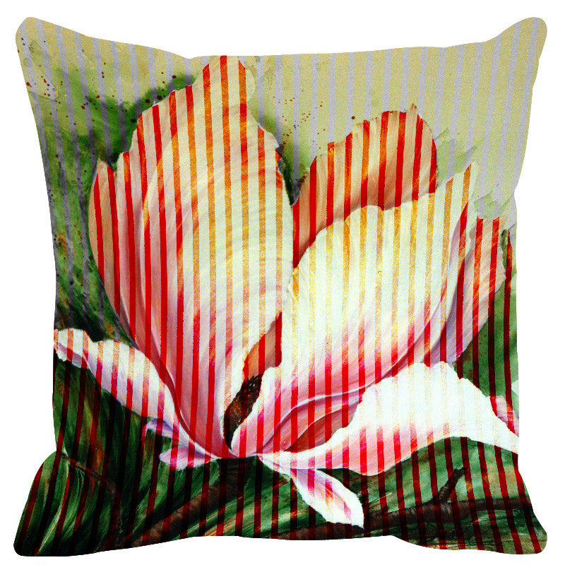 Leaf Designs Cream Pink Stripe & Floral Cushion Cover