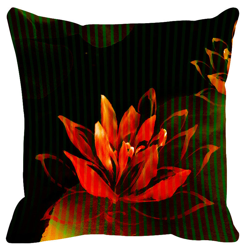 Leaf Designs Black Red Stripe & Floral Cushion Cover