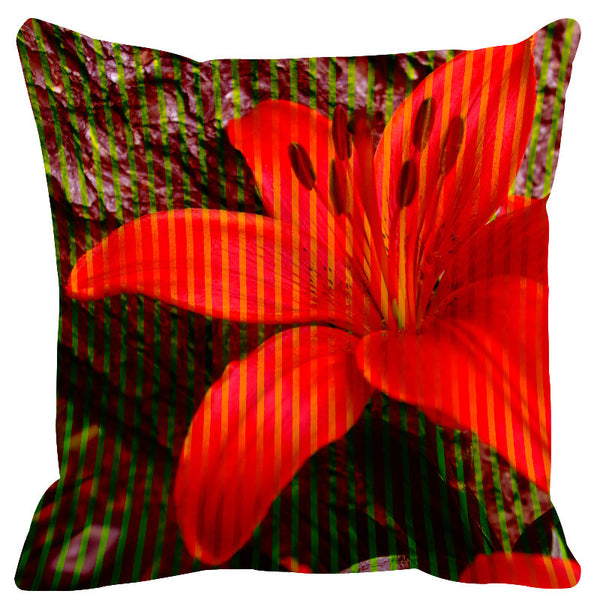 Leaf Designs Red Brown Stripe & Floral Cushion Cover