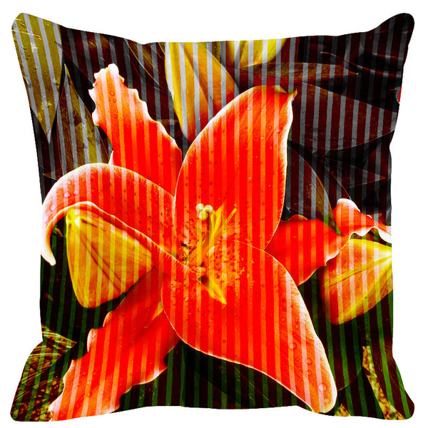 Leaf Designs Red Lemon Stripe & Floral Cushion Cover