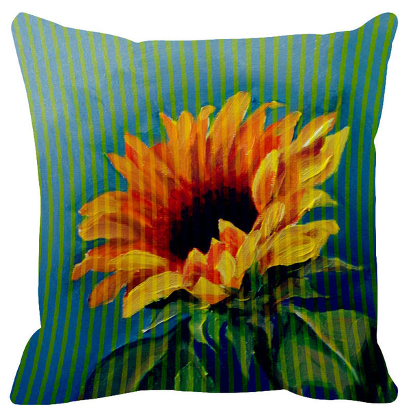 Leaf Designs Yellow Acqua Stripe & Floral Cushion Cover