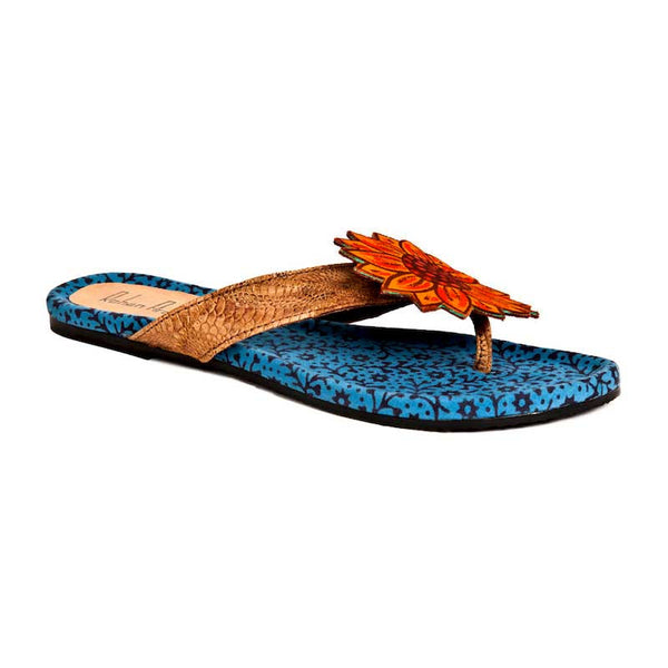 Rohan Arora Flower Sandals Blue By Fabulloso