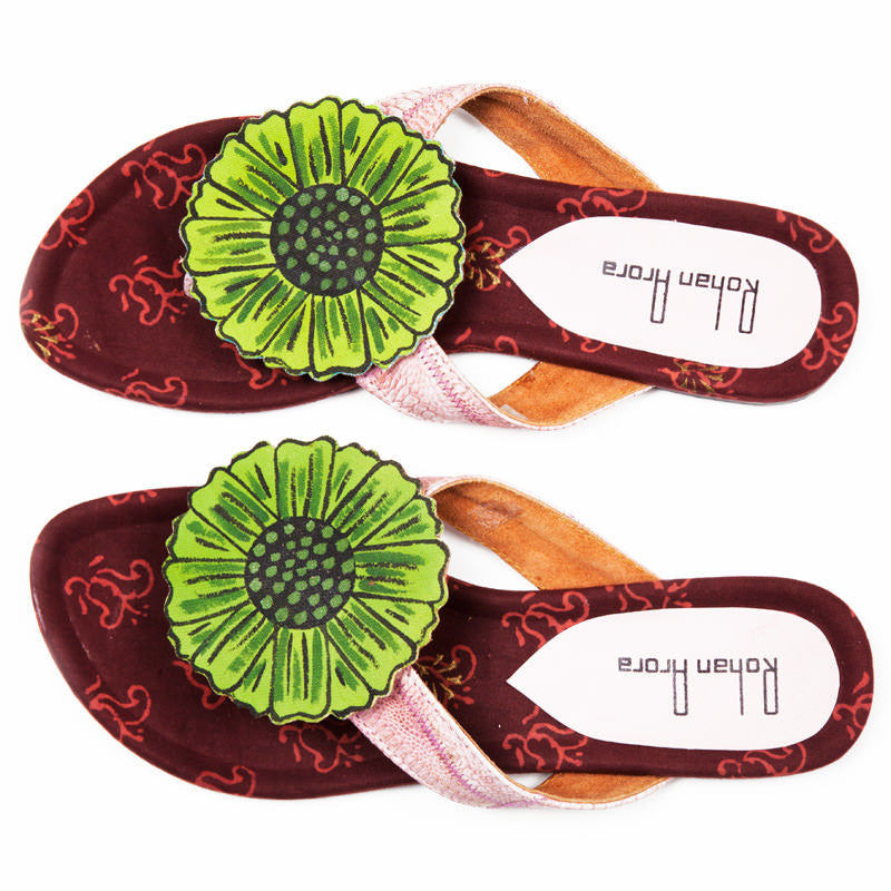 Rohan Arora Flower Sandals Brown By Fabulloso
