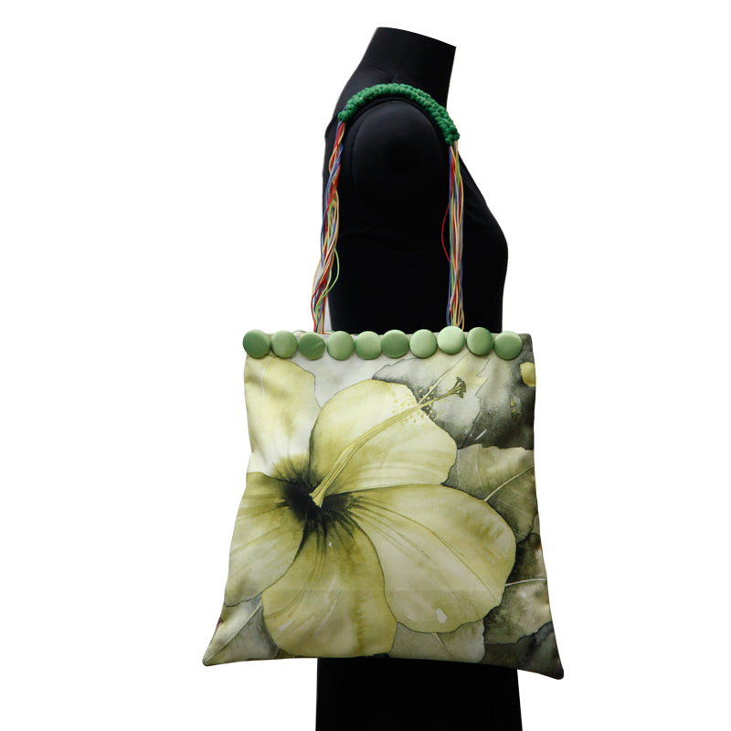 Leaf Designs Canvas Mehndi Green & Red Hues Floral Bag