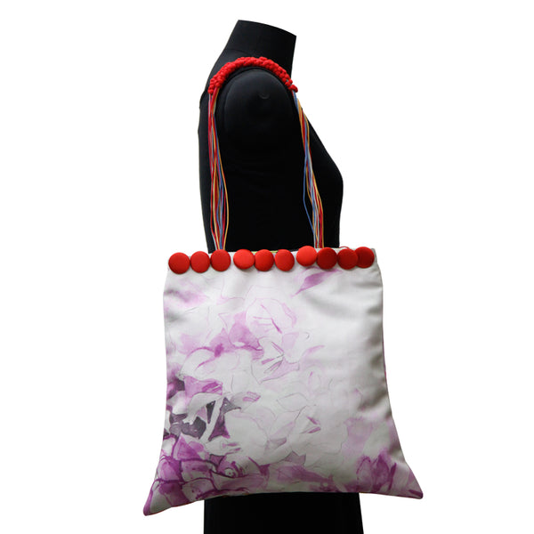 Leaf Designs Canvas Pink & Red Floral Bag