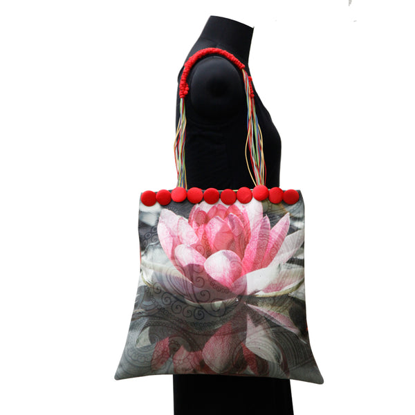 Leaf Designs Canvas Pink & Coral Floral Bag