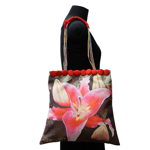 Leaf Designs Canvas Emerald Green & Red Floral Bag