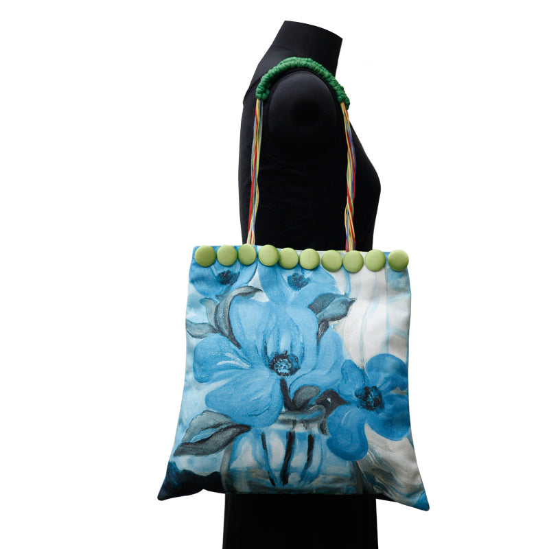 Leaf Designs Canvas Blue & Red Floral Bag