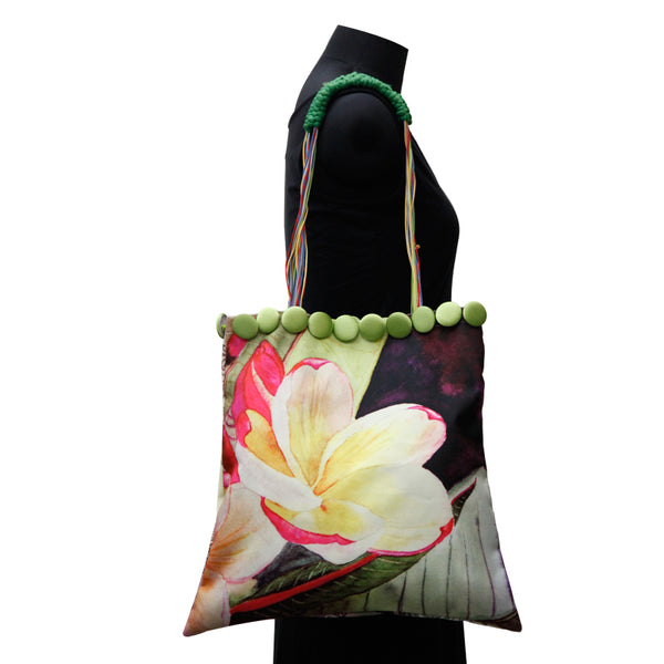 Leaf Designs Canvas Light Yellow Floral Bag