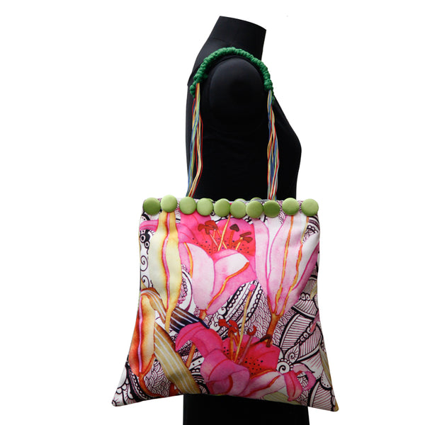 Leaf Designs Canvas Black & Pink Floral Bag