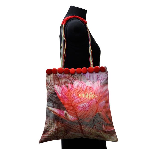 Leaf Designs Canvas Yellow & Pink Floral Bag