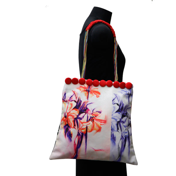 Leaf Designs Blue & Purple Canvas Floral Bag