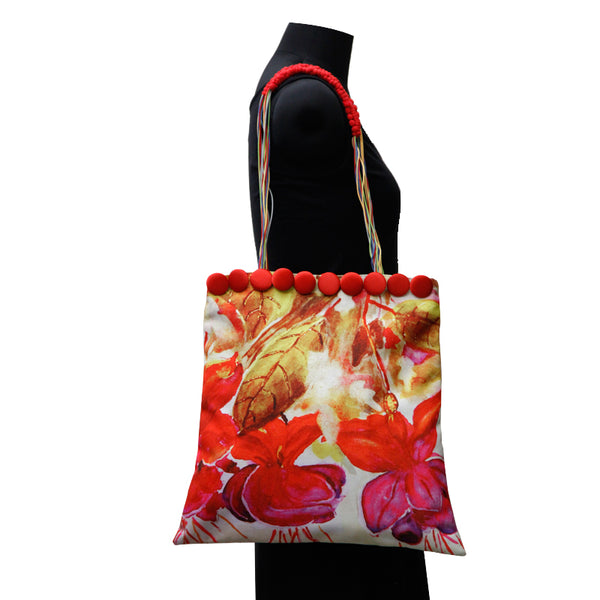 Leaf Designs Purple & Red Canvas Floral Bag