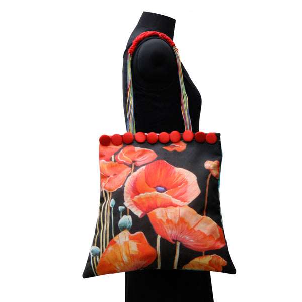Leaf Designs Canvas Red & Blue Floral Bag
