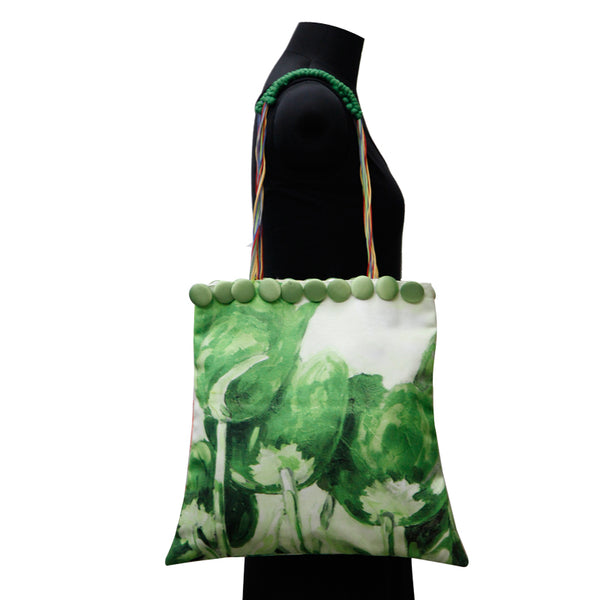 Leaf Designs Canvas Red & Bright Green Floral Bag