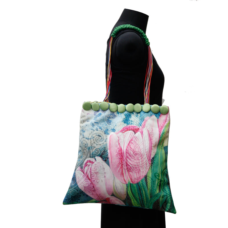 Leaf Designs Canvas Pink & Blue Floral Bag
