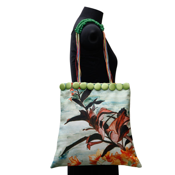 Leaf Designs Canvas Brick Red & Green Floral Bag