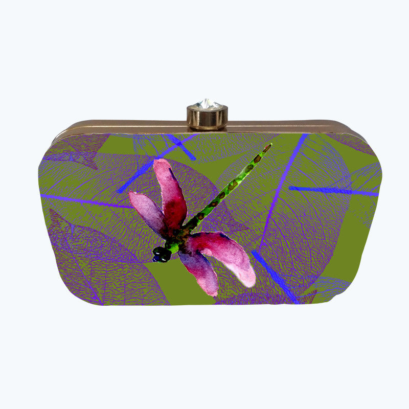 Fabulloso Pink Dragonfly Box Clutch